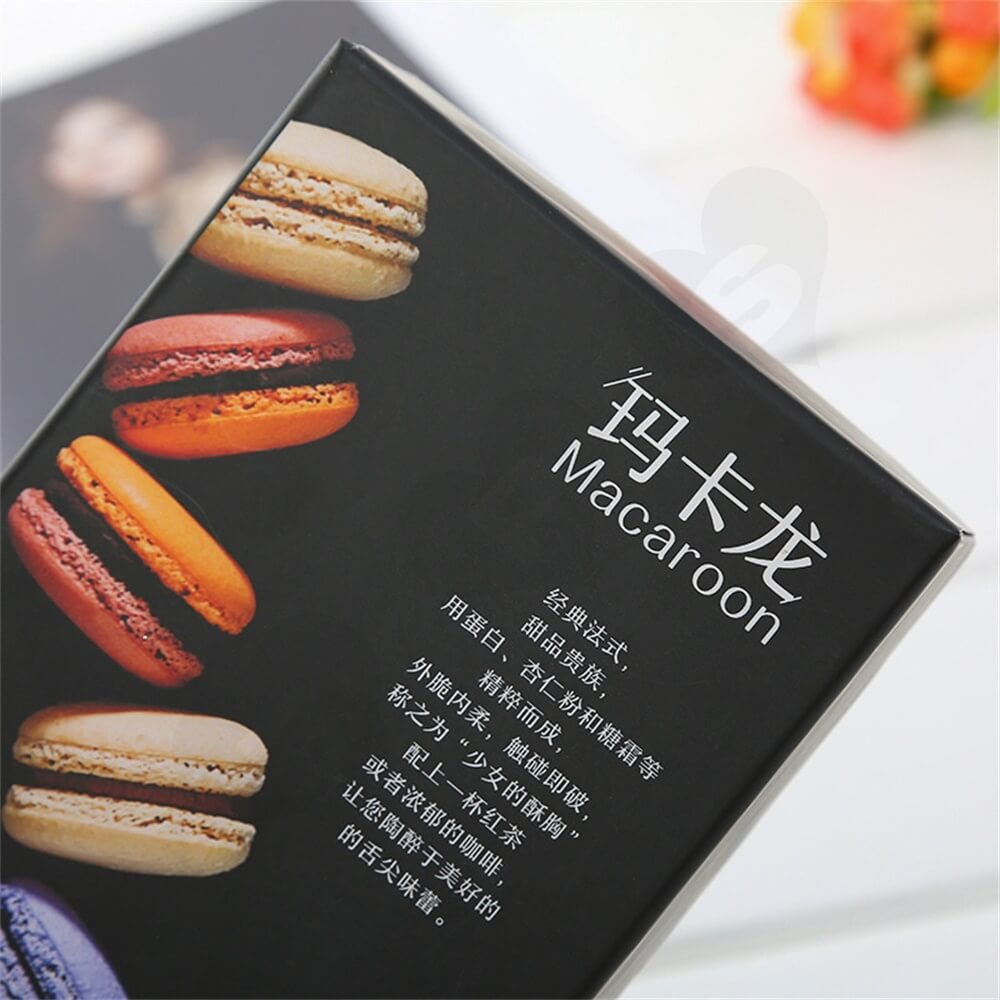 Matte Black Printed Macaron Packaging Box Side View Two