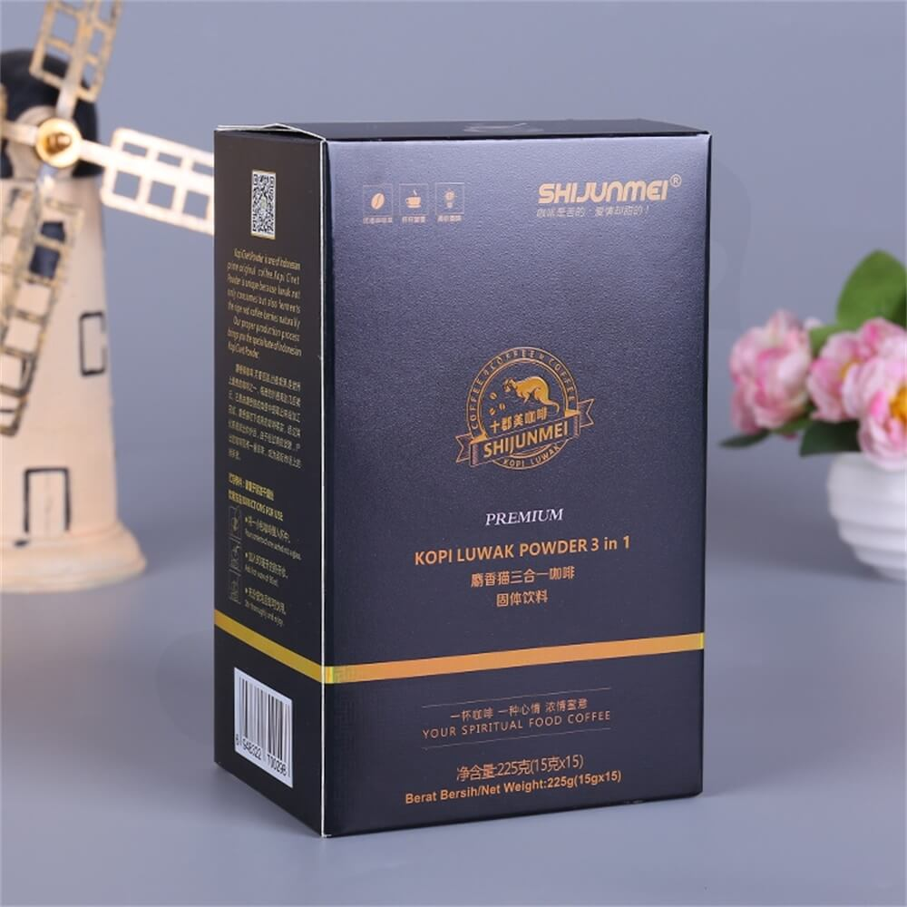 Matte Printing Luwak Powder Packaging Box Side View Two