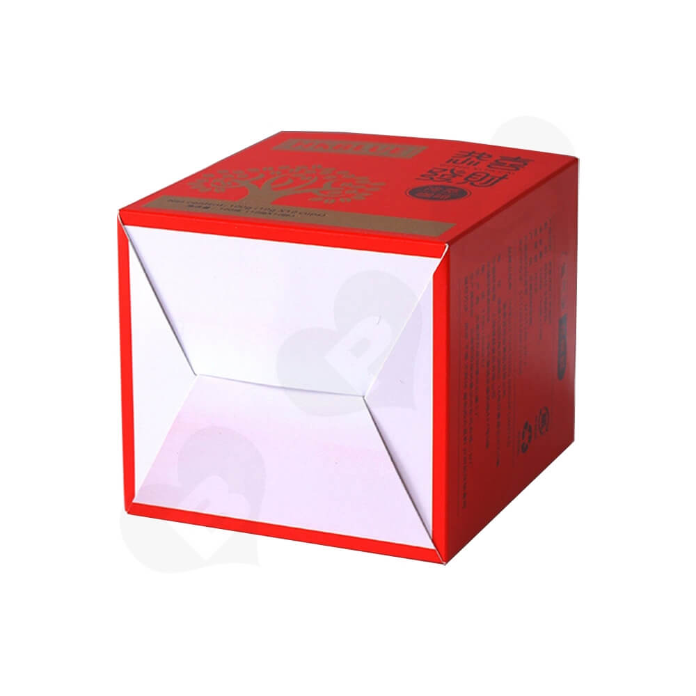 Matte Red Folding Carton For Coffee Powder Side View Five