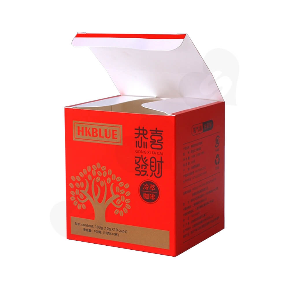 Matte Red Folding Carton For Coffee Powder Side View One