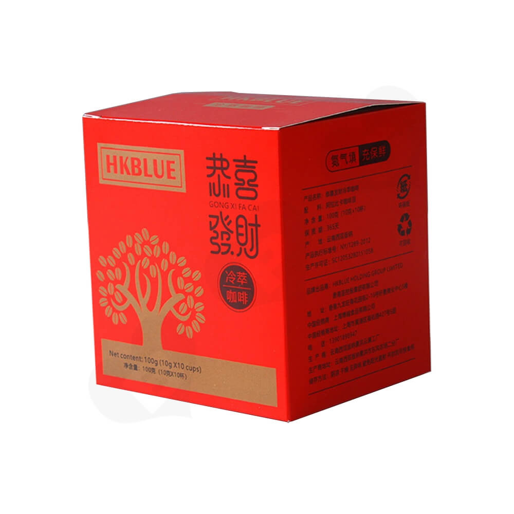Matte Red Folding Carton For Coffee Powder Side View Three