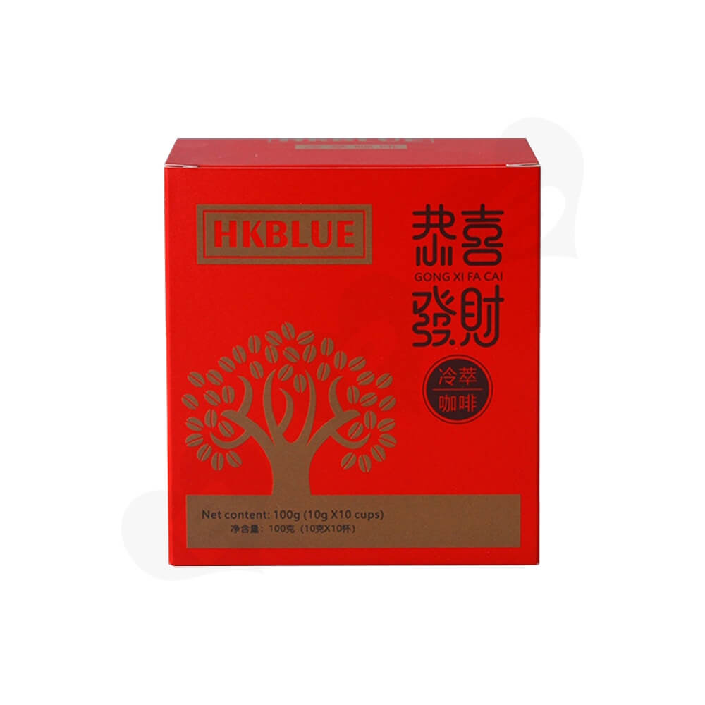 Matte Red Folding Carton For Coffee Powder Side View Two
