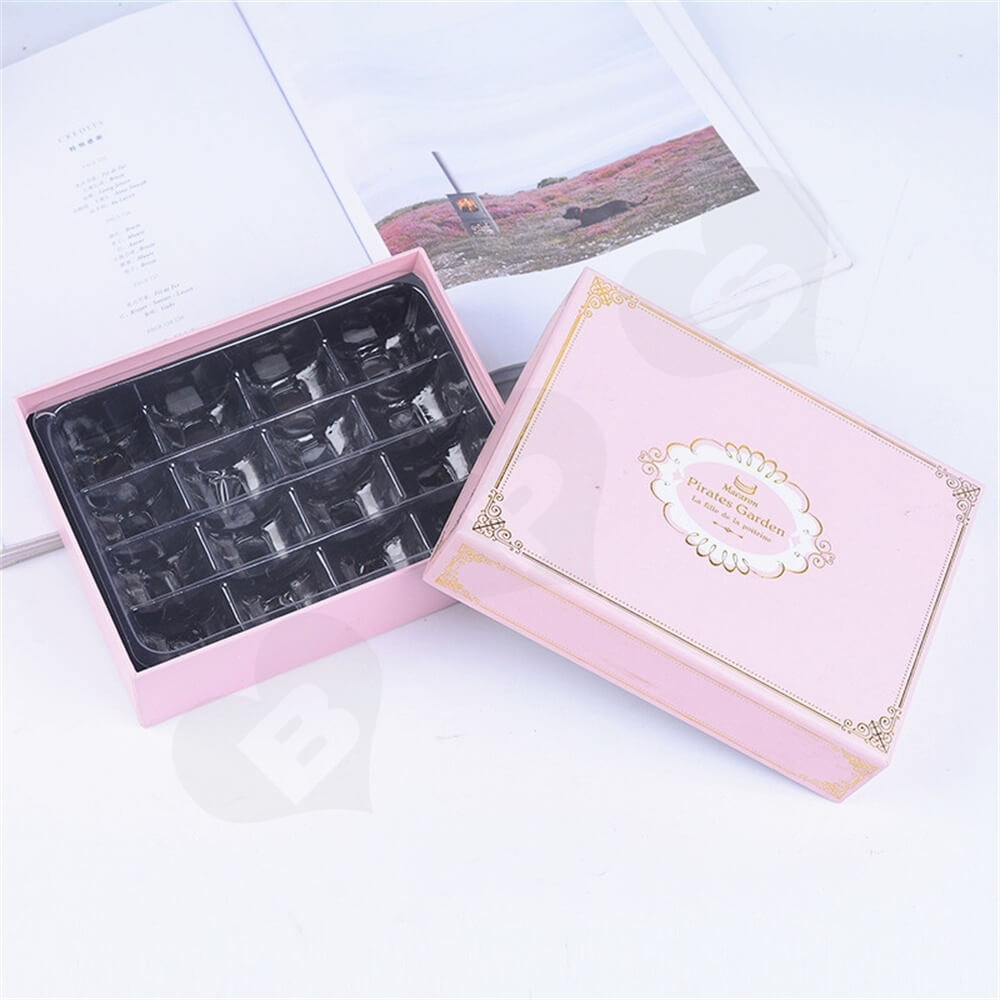 Pink Color Telescopic Gift Box For Sixteen Pieces Macaron Side View Five