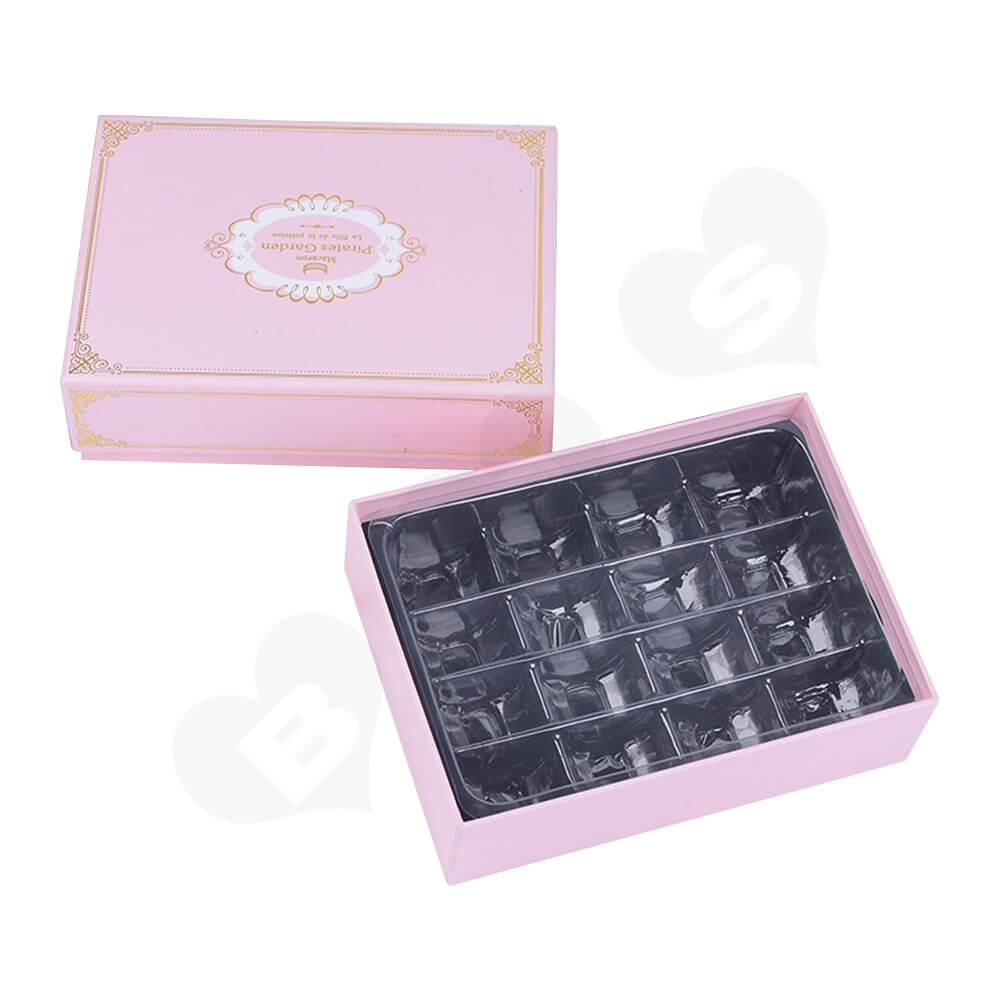 Pink Color Telescopic Gift Box For Sixteen Pieces Macaron Side View One