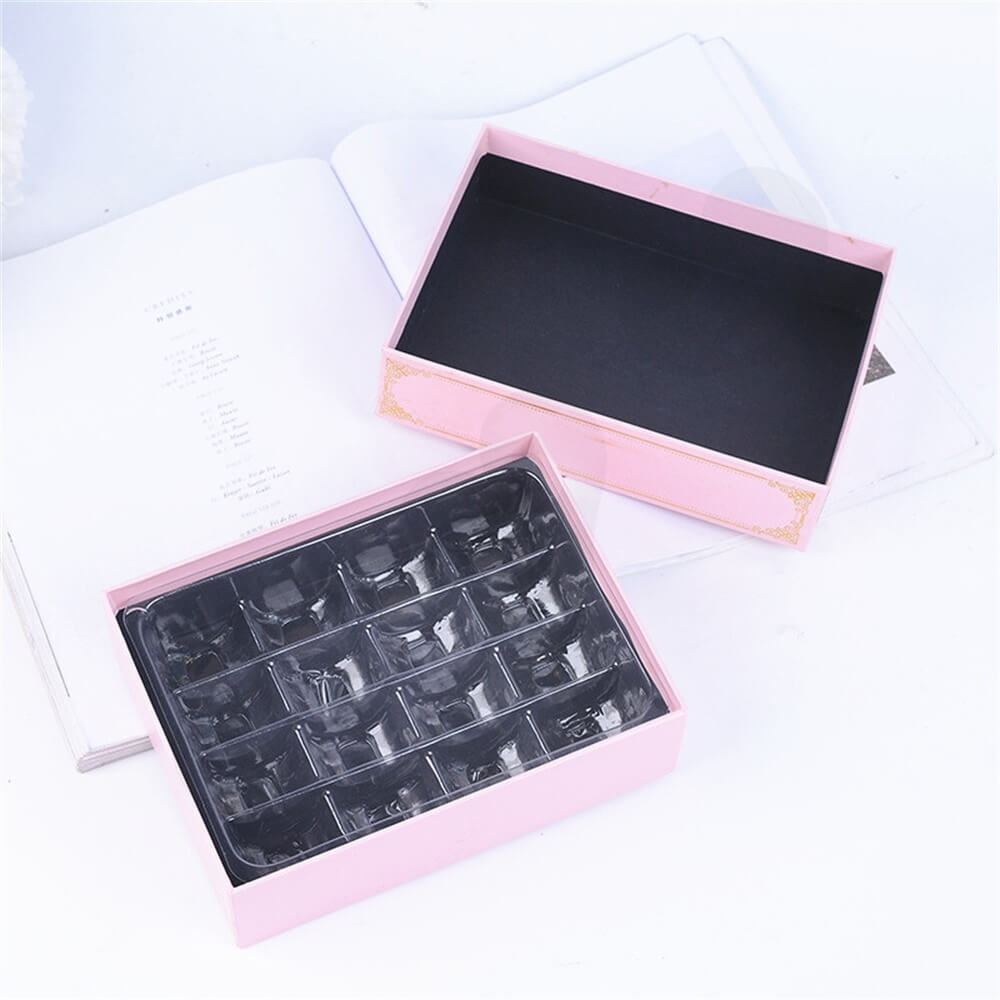 Pink Color Telescopic Gift Box For Sixteen Pieces Macaron Side View Seven