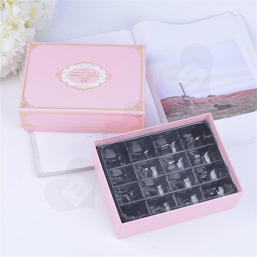 Pink Color Telescopic Gift Box For Sixteen Pieces Macaron Side View Six