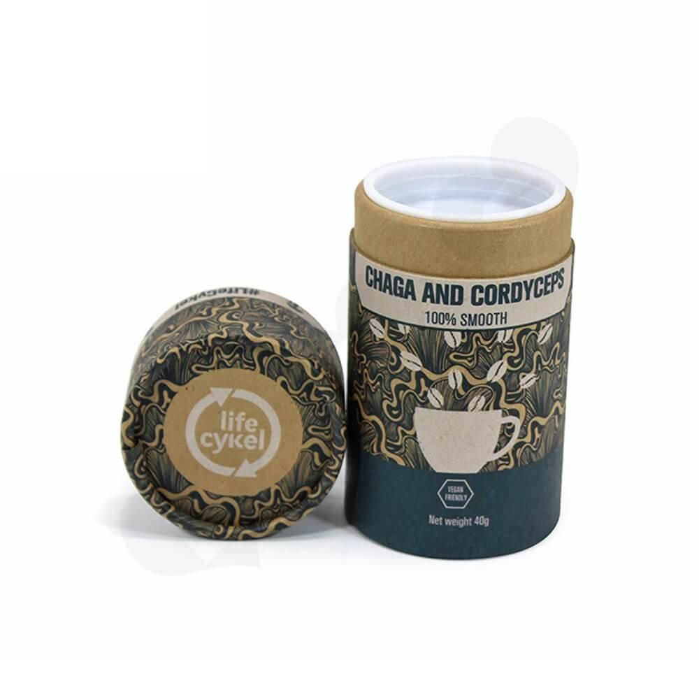 Printed Cardboard Cylinder Box For Coffee Powder Side View Four
