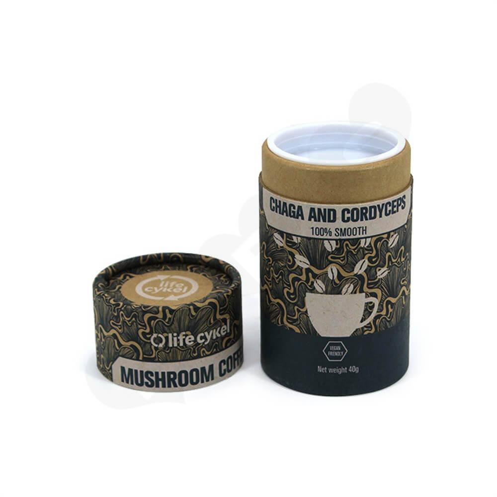 Printed Cardboard Cylinder Box For Coffee Powder Side View One