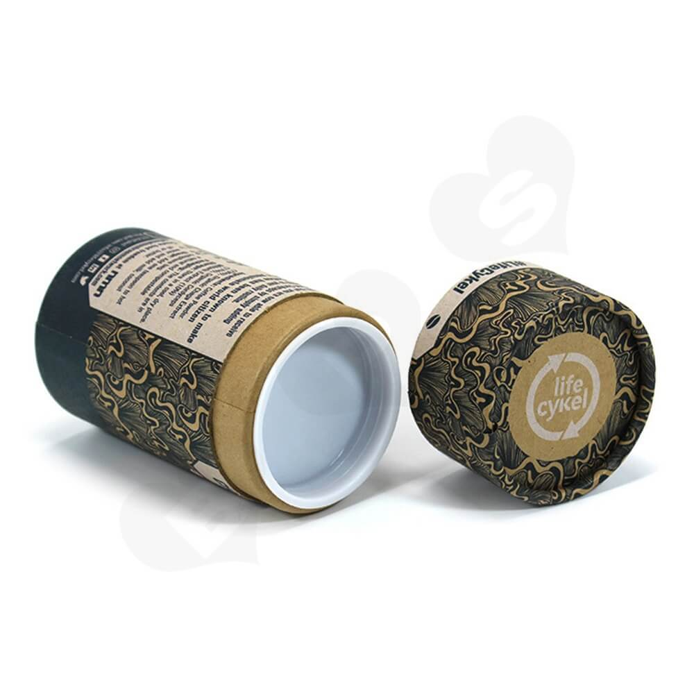 Printed Cardboard Cylinder Box For Coffee Powder Side View Three