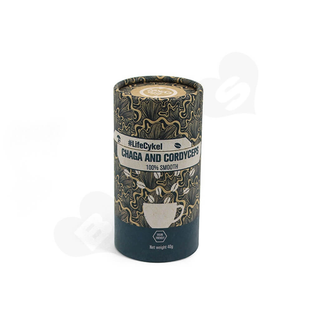 Printed Cardboard Cylinder Box For Coffee Powder Side View Two