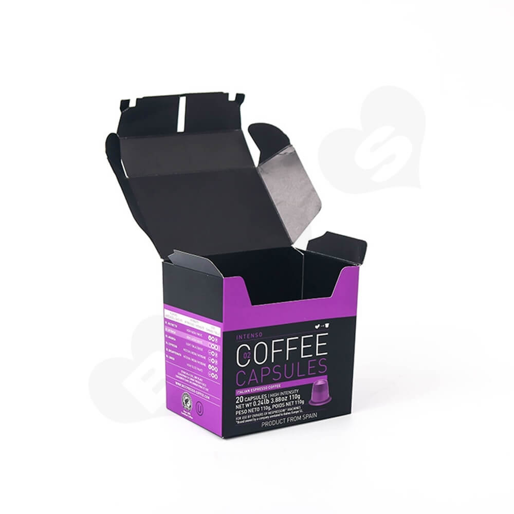 Printed Hinged Lid Folding Carton For Espresso Capsule Side View Four