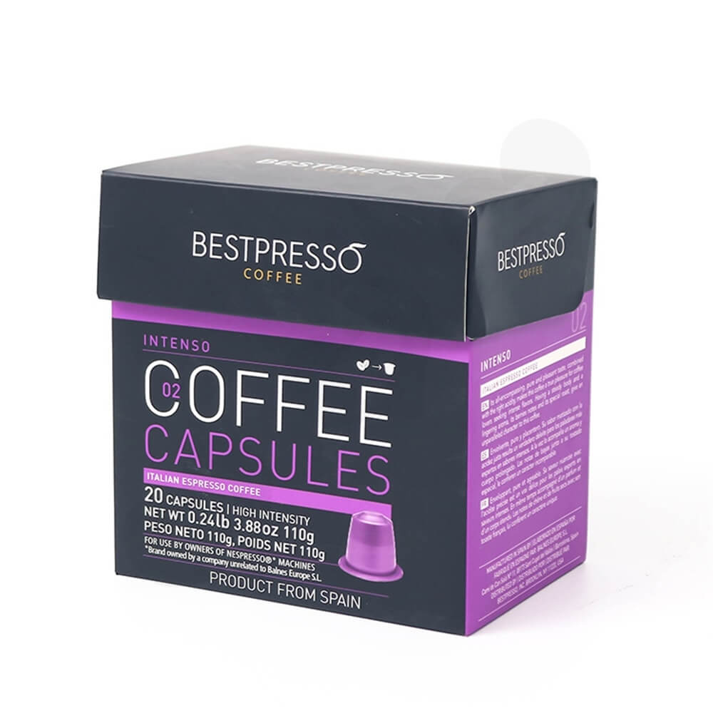 Printed Hinged Lid Folding Carton For Espresso Capsule Side View One