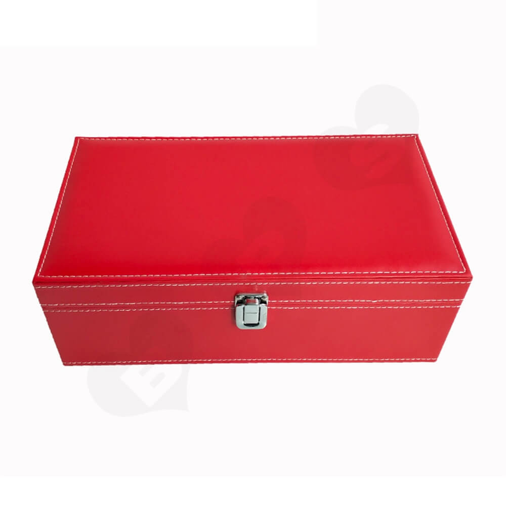 Red Color Wine Box Kit With Personalized Logo Side View Four