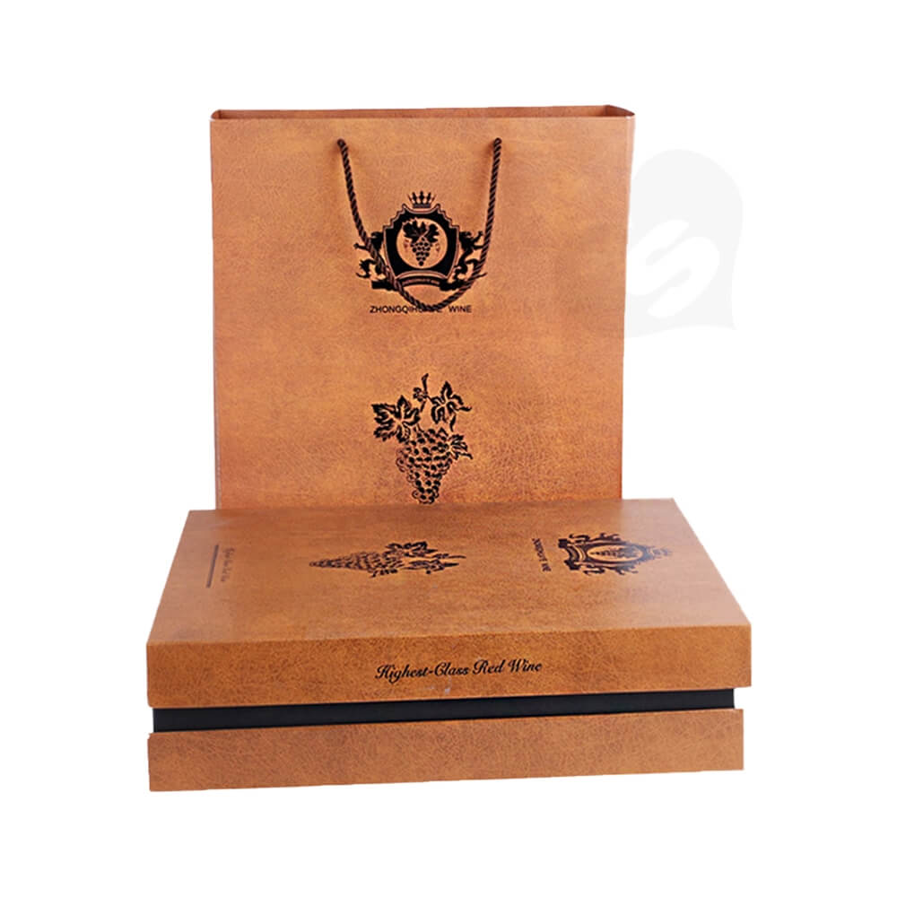 Specialty Pattern Texture Wine Box With Insert Linen Side View Four