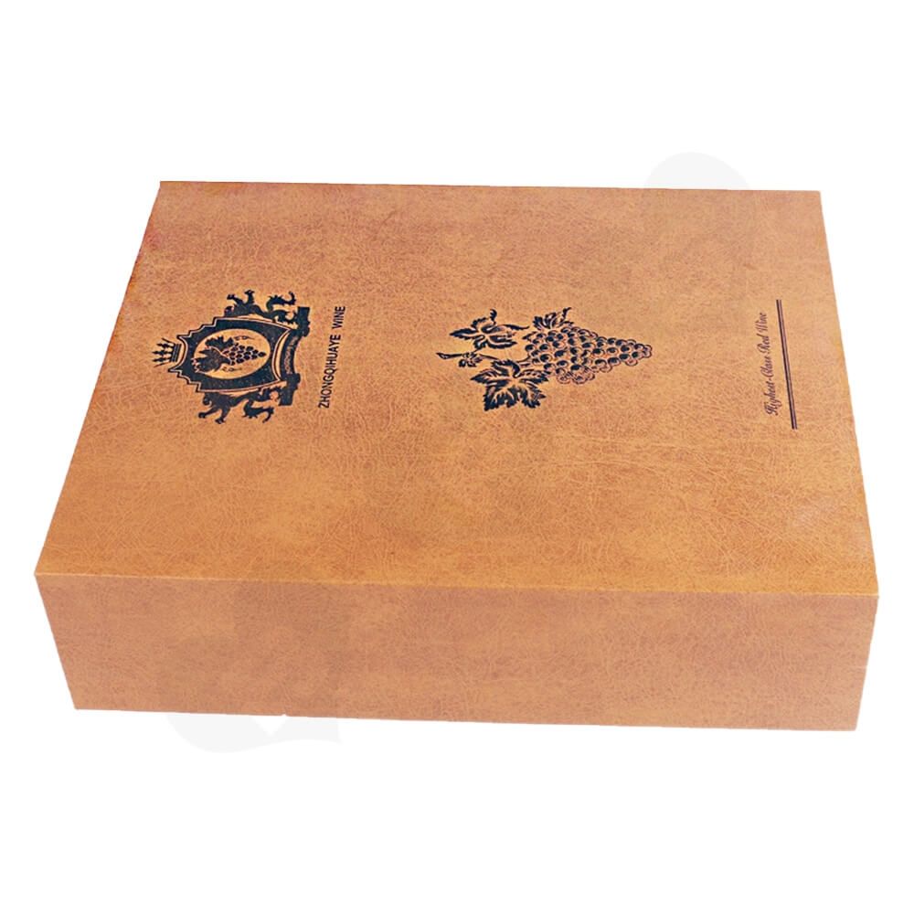 Specialty Pattern Texture Wine Box With Insert Linen Side View Two