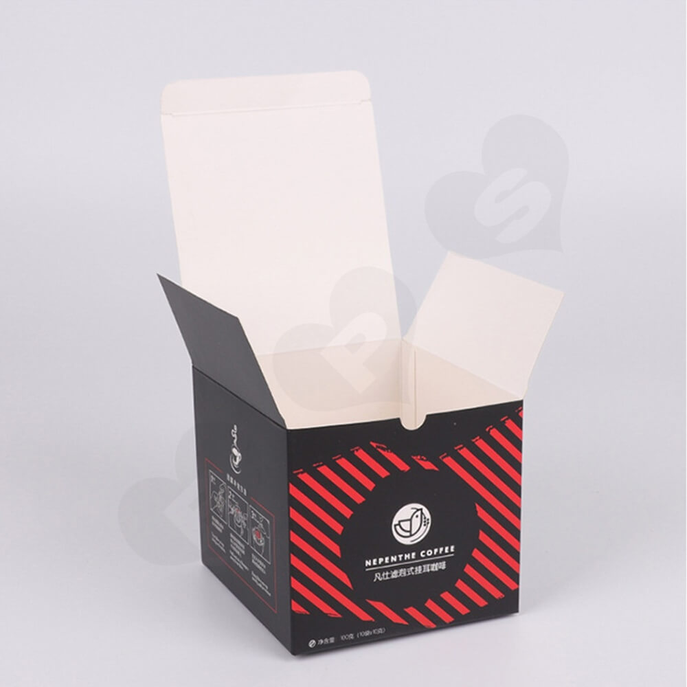 Tuck Top Paper Box For Hanging Ear Coffee Side View Six