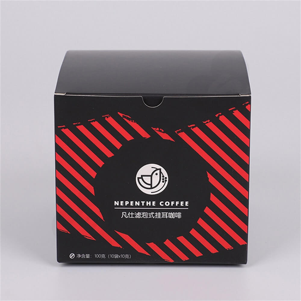 Tuck Top Paper Box For Hanging Ear Coffee Side View Three