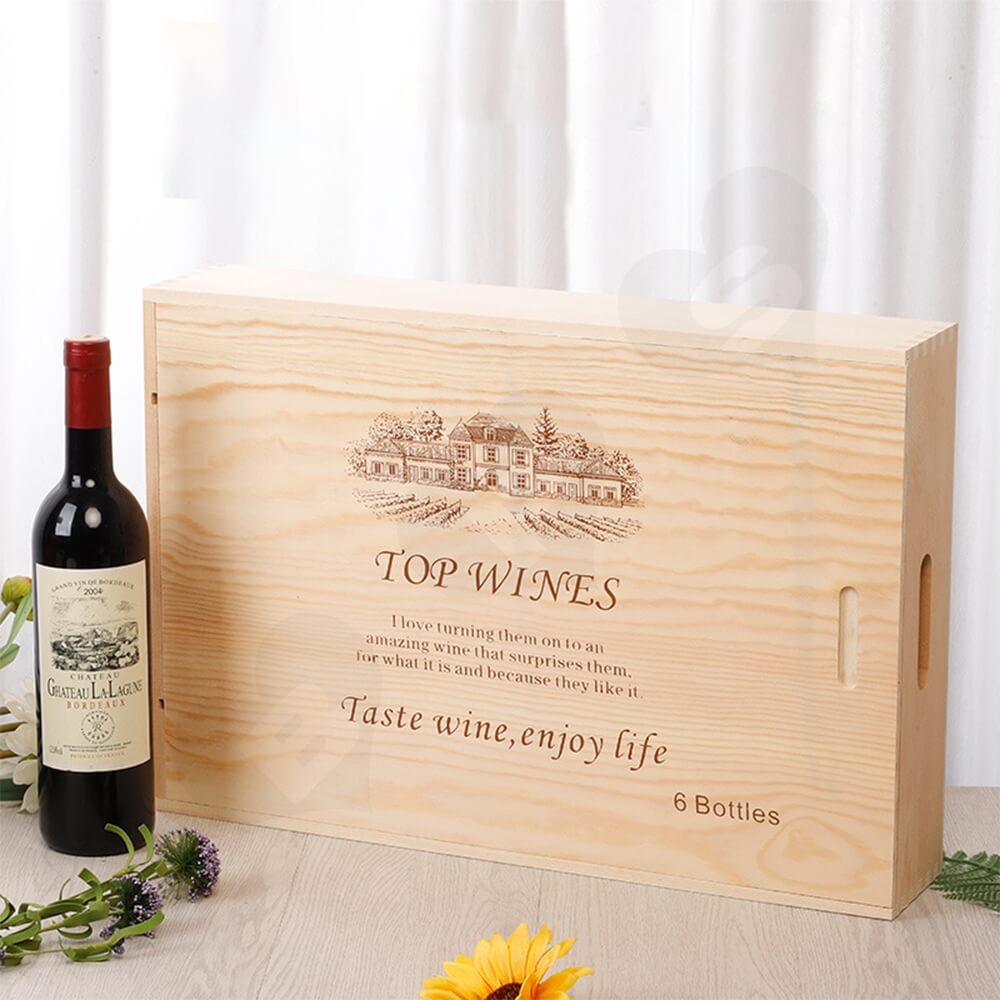 Wooden Drawer Box For Six Pack Wine Bottle Side View Four