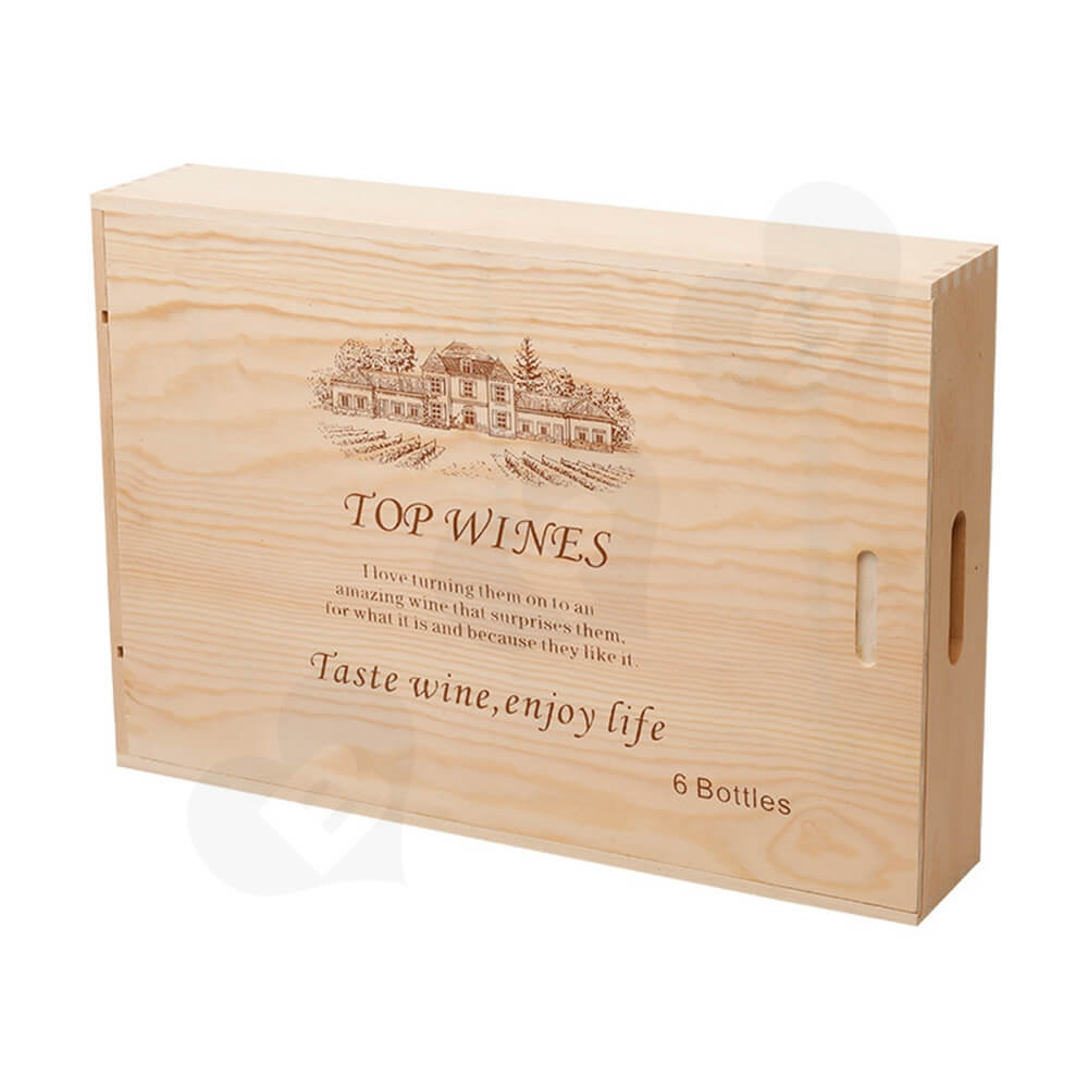 Wooden Drawer Box For Six Pack Wine Bottle Side View One