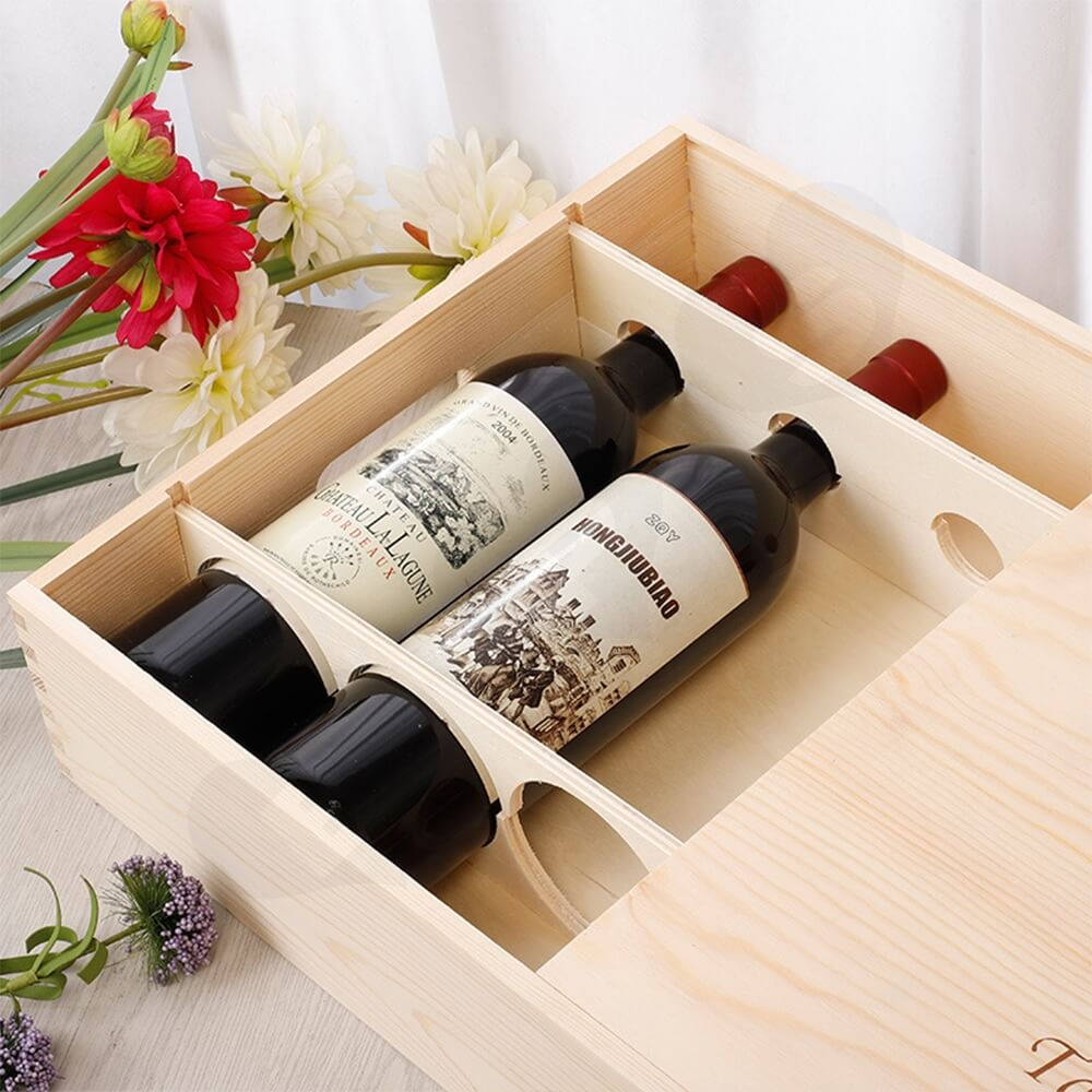 Wooden Drawer Box For Six Pack Wine Bottle Side View Three
