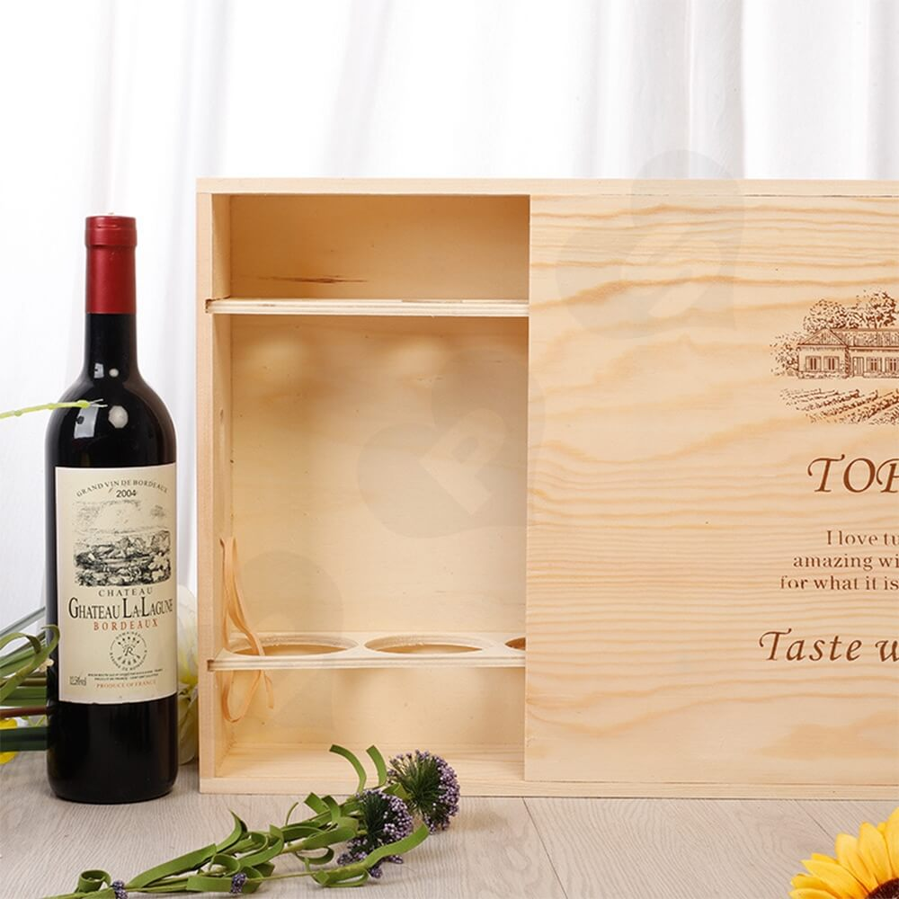Wooden Drawer Box For Six Pack Wine Bottle Side View Two