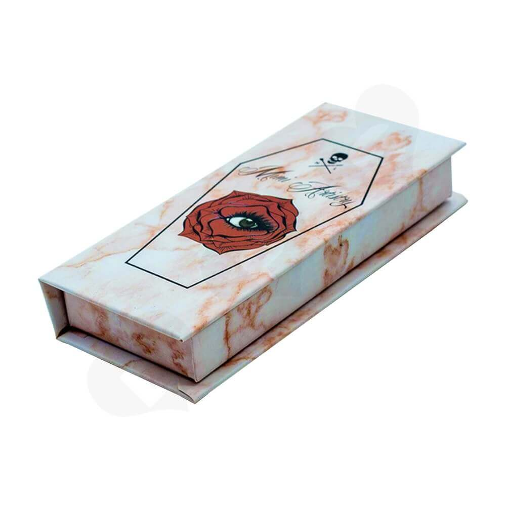 Branded Eyelash Box Double Sided Printing With String Side View One