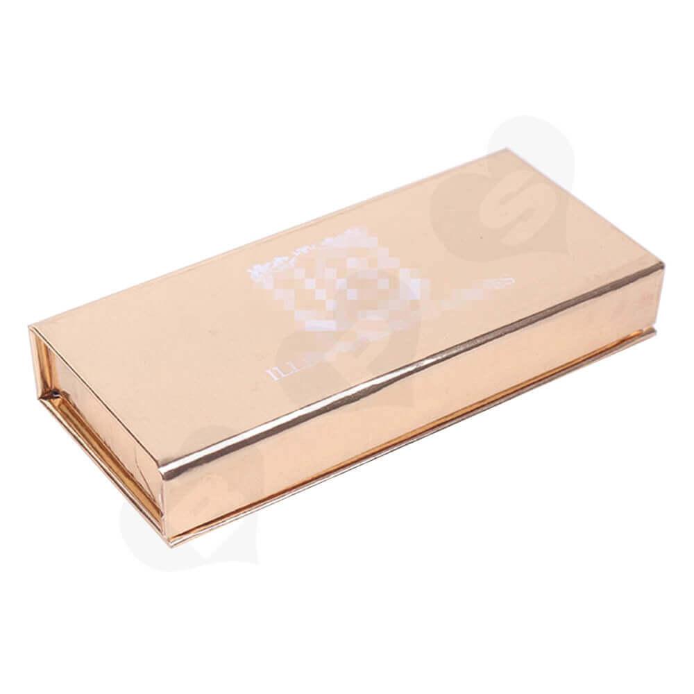 Branded Metallic Gift Box For Eyelash Packaging Side View One