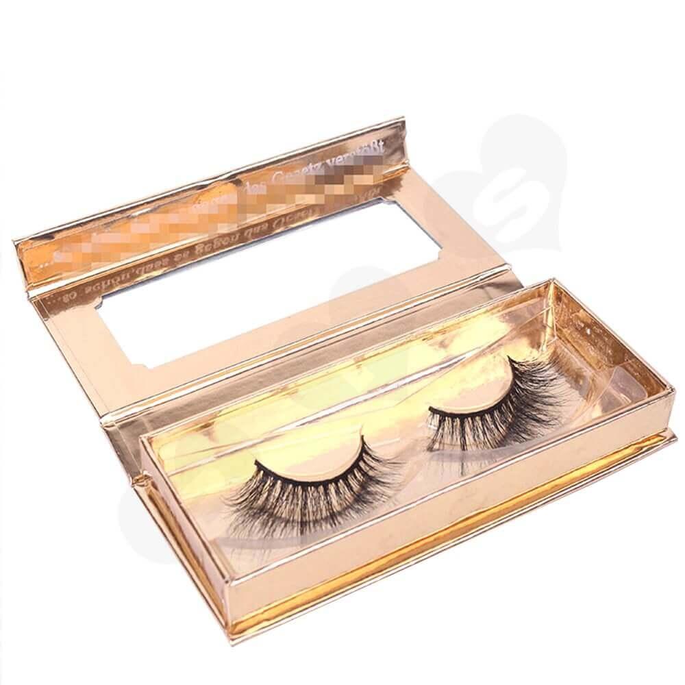Branded Metallic Gift Box For Eyelash Packaging Side View Three