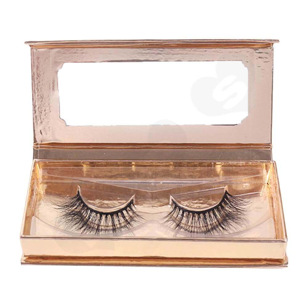 Branded Metallic Gift Box For Eyelash Packaging Side View Two
