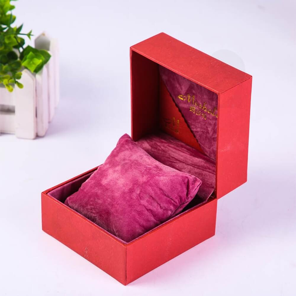 Cardboard Leather Box With Texture For Women Watch Side View Four