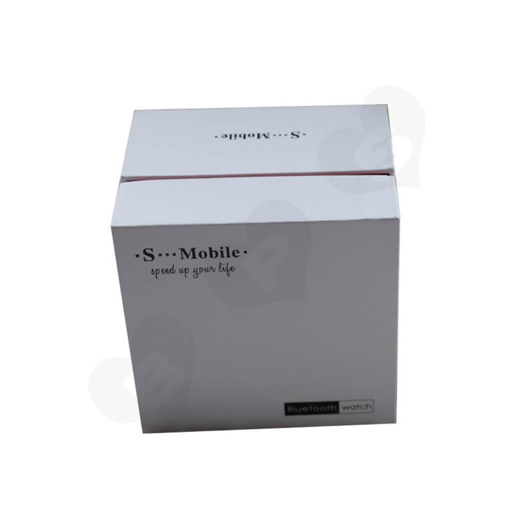 Cardboard Rigid Shoulder Box For Bluetooth Watch Side View Five