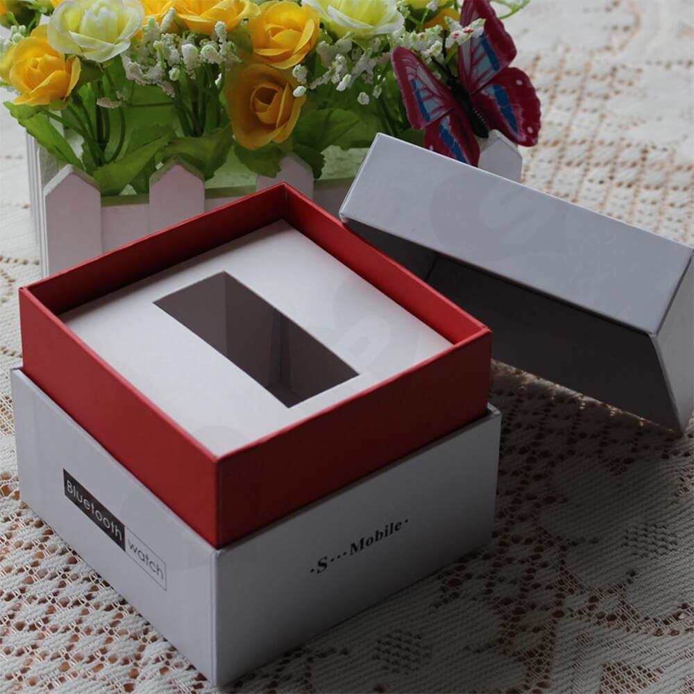 Cardboard Rigid Shoulder Box For Bluetooth Watch Side View Four