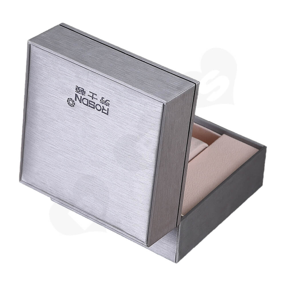 Cardboard Silver Specialty Box For Watch Side View Five