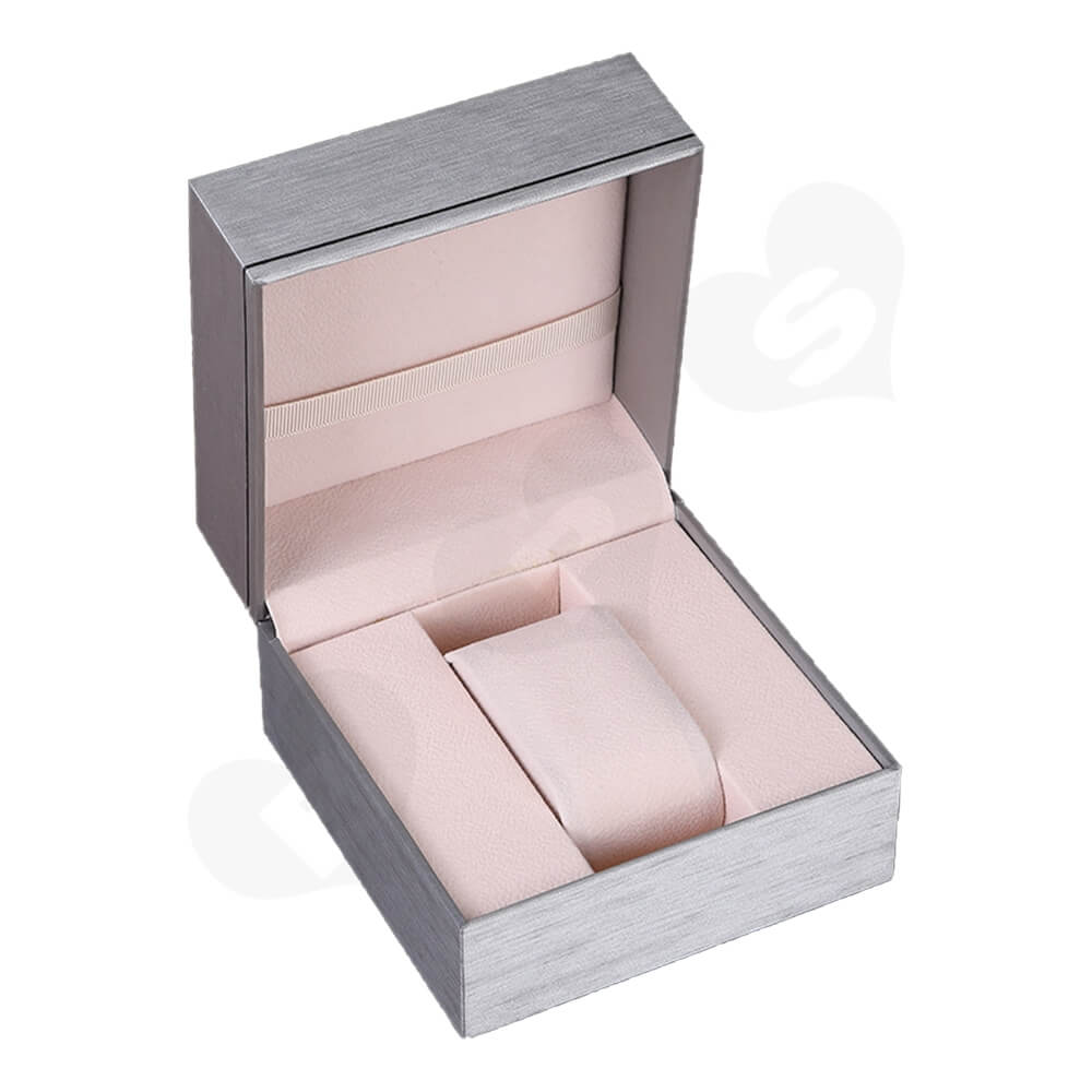 Cardboard Silver Specialty Box For Watch Side View One