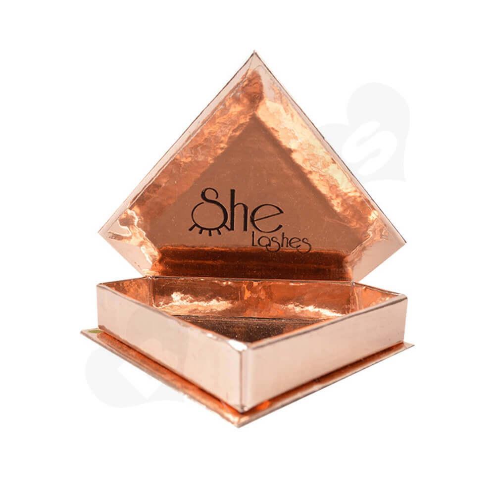 Custom Branded Diamond Shape Box For Eyelash Side View Four