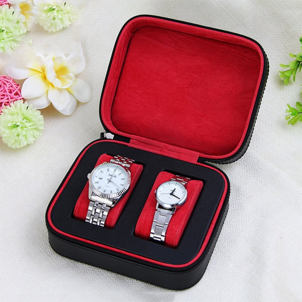 Custom Fabric Suitcase Box For Watch Side View One