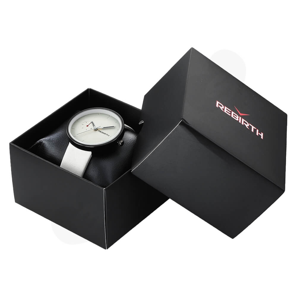 Custom Folding Carton For Watch With Leather Pillow Cushion Side View One