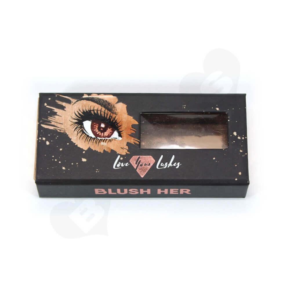 Custom Printed Cardboard Clamshell Style Eyelash Box Side View One
