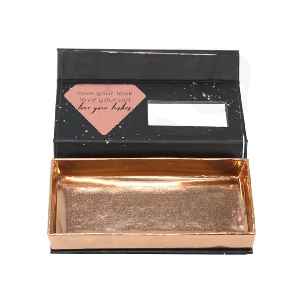 Custom Printed Cardboard Clamshell Style Eyelash Box Side View Three