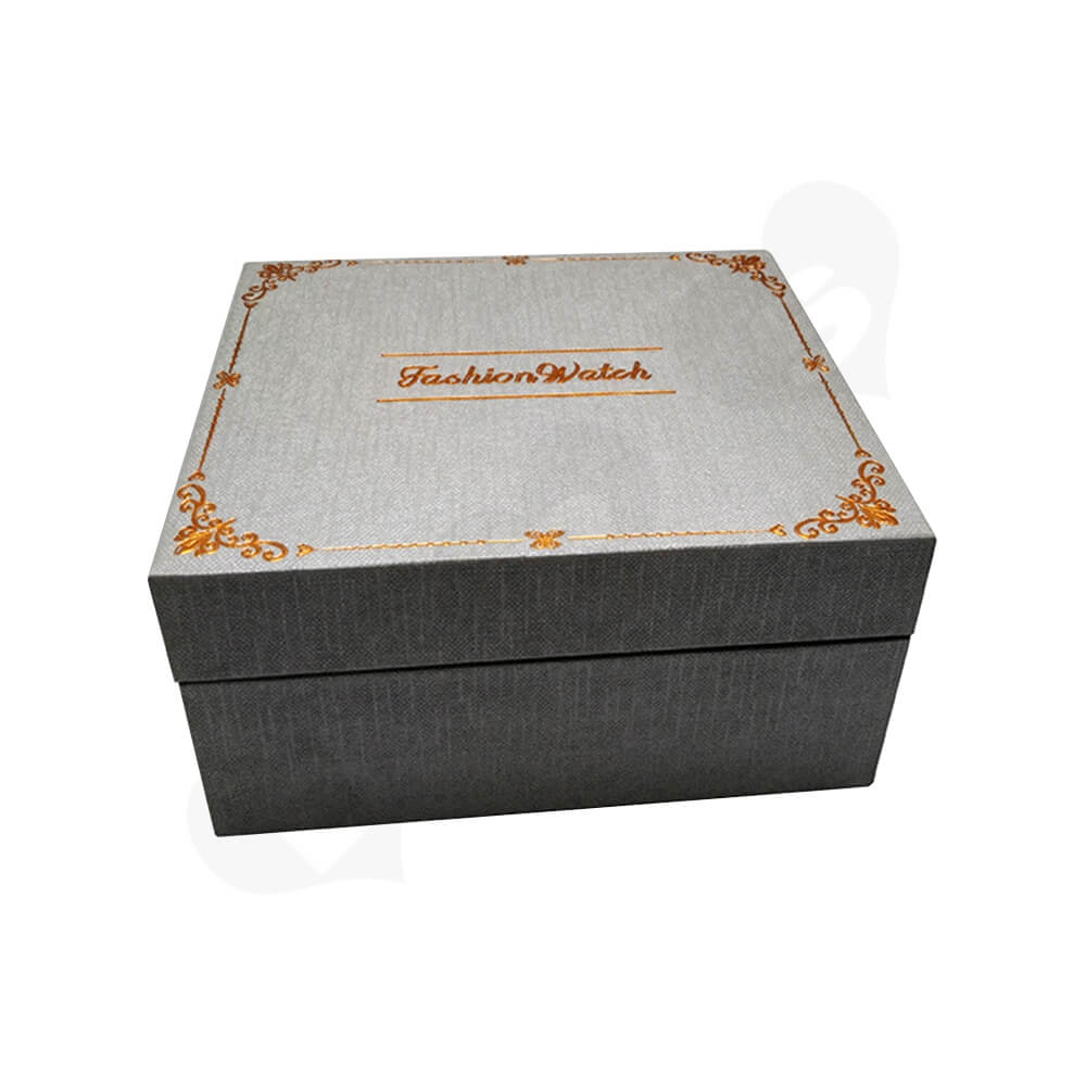 Custom Specialty Paper Box With Foil Stamping For Watch Side View One