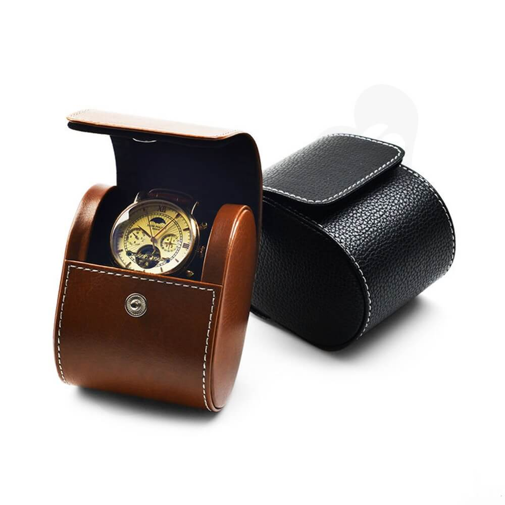 Customizable Faux Leather Organizer Box For Watch Side View Five