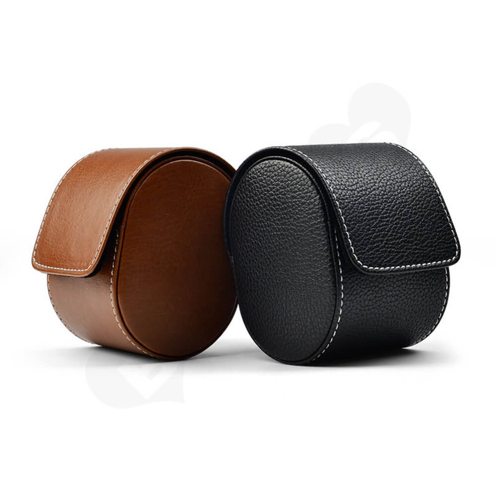 Customizable Faux Leather Organizer Box For Watch Side View Two