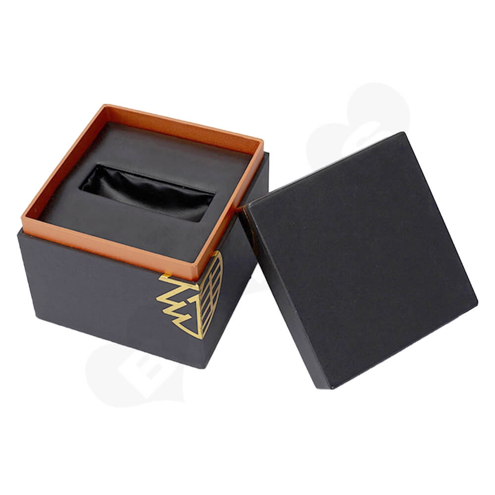 Gold Foil Stamping Rigid Neck Box For Watch Side View Five