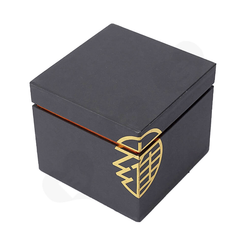 Gold Foil Stamping Rigid Neck Box For Watch Side View Two