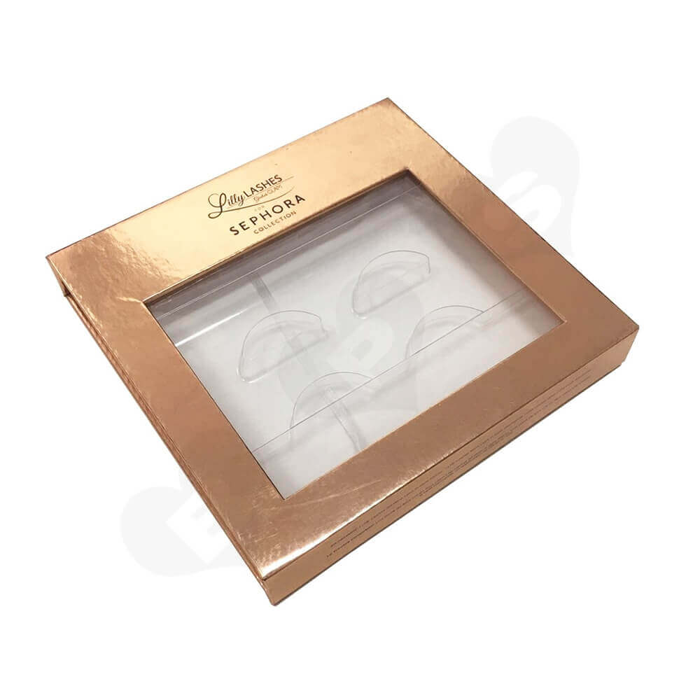 Gold Metallic Gift Box For Eyelashes Side View Five