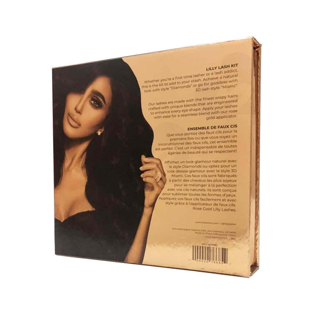 Gold Metallic Gift Box For Eyelashes Side View Four