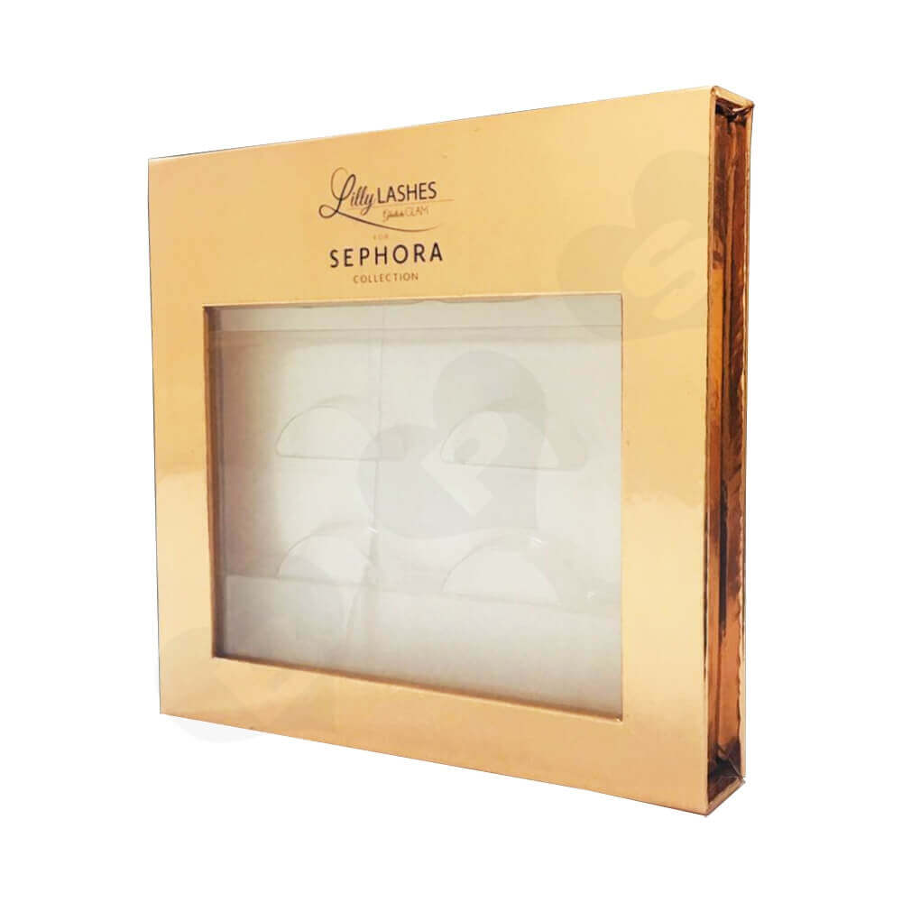 Gold Metallic Gift Box For Eyelashes Side View One