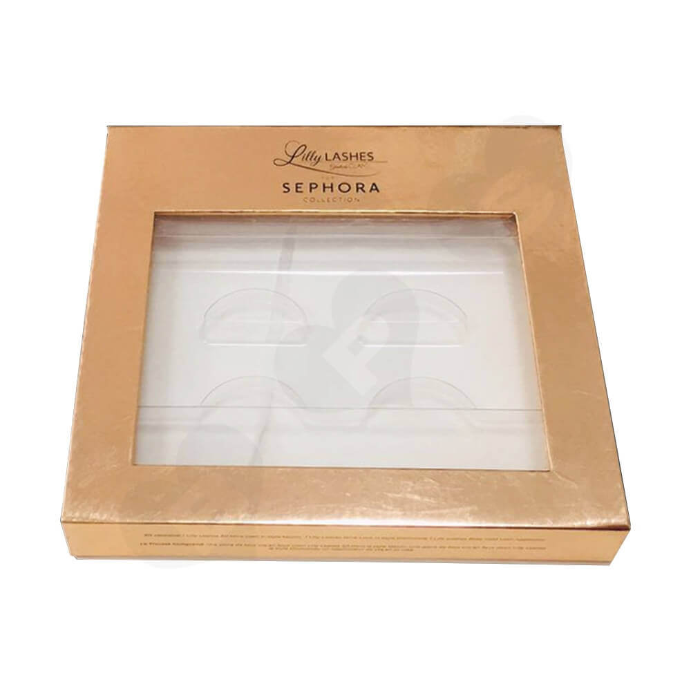 Gold Metallic Gift Box For Eyelashes Side View Two