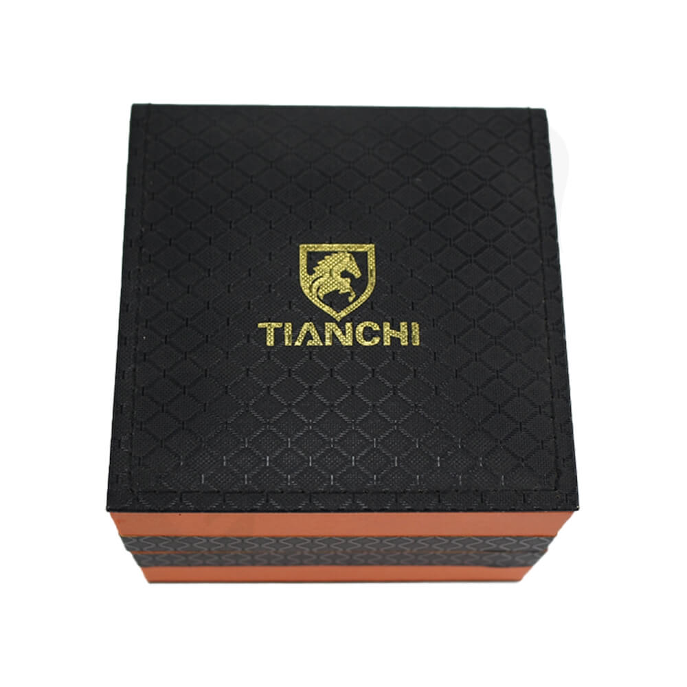 Hinged Lid Gift Box With Texture Pattern For Watch Side View Five