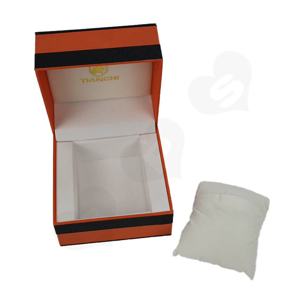 Hinged Lid Gift Box With Texture Pattern For Watch Side View Four